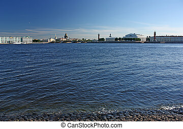 Saint-Petersburg. View of the Palace quay, old Stock...