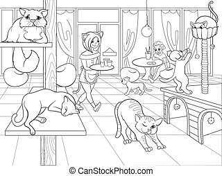 Beautiful interior of modern cat cafe for people cartoon...