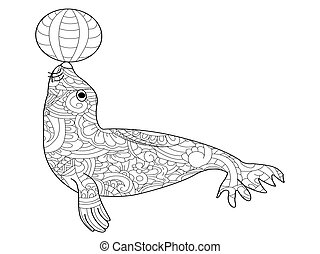 Fur seal coloring vector for adults - Fur seal with ball...