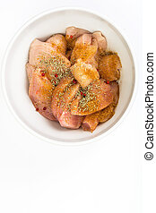 Chicken fillet pieces with spices for cooking