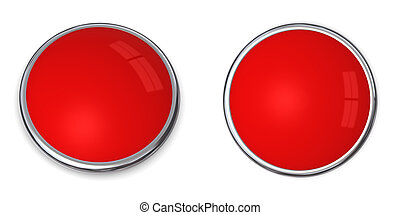 3D Button Solid Red - 3D button in solid red, front and side...