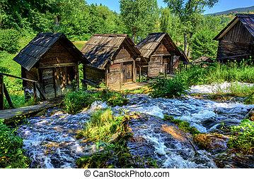 Jajce watermills, Bosnia and Herzegovina - Historical wooden...