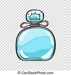 Blue Glass Bottle of Perfume Isolated Illustration