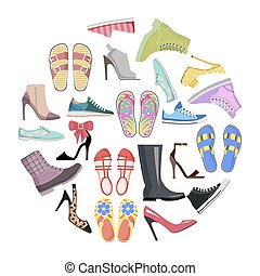 Collection of Shoes in Round Frame Banner Isolated -...