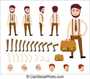 Cartoon Man Constructor Isolated Illustration - Cartoon man...