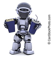 robot, pop, granaglie, secchio, soda