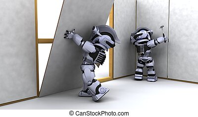 robot contractor building a drywall - 3D render of robot...