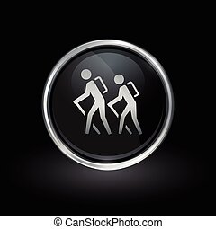 Hiking trail icon inside round silver and black emblem