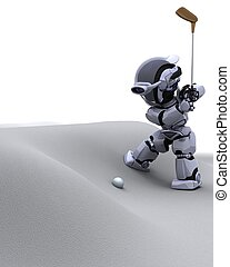 robot with club playing golf - 3D render of robot with club...
