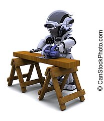 robot with power saw cutting wood - 3D render of robot with...