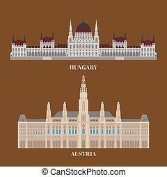 Hungary and Austria travel icons. Country sightseeing symbols, European landmarks. Flat architecture of Budapest and Vienna
