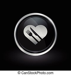 Healthy heart diet icon inside round silver and black emblem