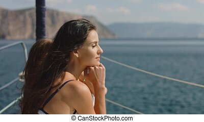 Attractive girls on a yacht at summer day - Attractive young...