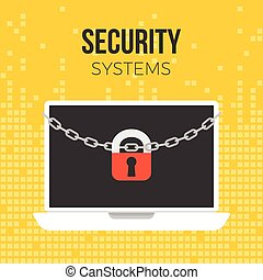 Lock and chain on laptop, security concept on digital background theme