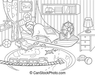 kids coloring on the theme of childhood room coloring...