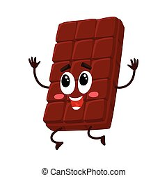 Cute chocolate bar character with funny face jumping from happiness