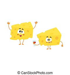 Two funny cheese chunk characters holding wine glass, celebration concept