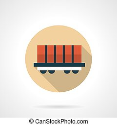 Rail boxcar beige round vector icon - Red rail boxcar....