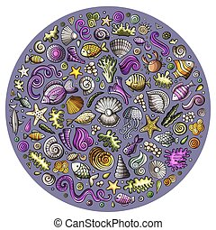 Set of Sealife cartoon doodle objects, symbols and items -...