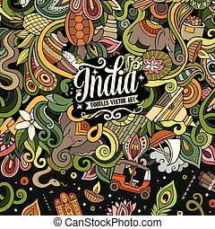 Cartoon hand-drawn doodles India illustration. Colorful...