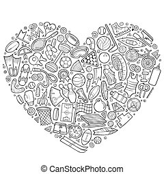 Vector hand drawn set of Sport cartoon doodle objects - Line...