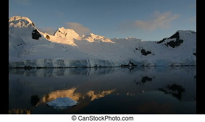 View of mountains in sunrise in Antarctica
