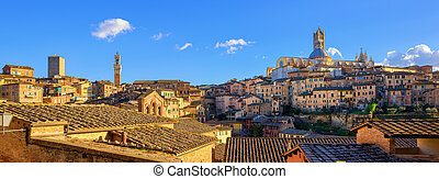 Panoramic view of Siena old town, Tuscany, Italy