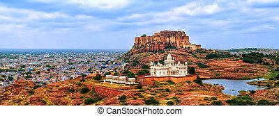 Panorama of blue city Jodhpur, India - Panorama view of the...
