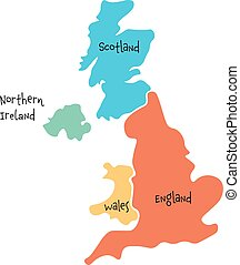 United Kingdom, aka UK, of Great Britain and Northern Ireland hand-drawn blank map. Divided to four countries - England, Wales, Scotland and NI. Simple flat vector illustration