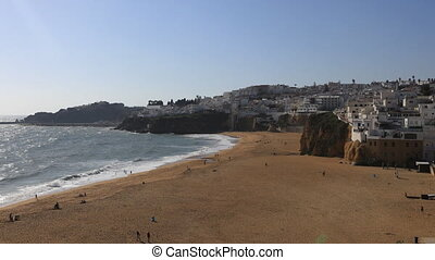 Timelapse of beach at Albufeira, Portugal on sunny day