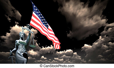 Themis with scale, symbol of justice with USA flag 3d rendering