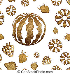 Gold hand painted summer background. Seamless pattern with abstract watermelon, strawberry, flowers.
