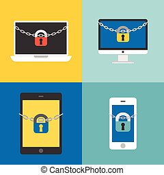 Chain and lock on desktop, laptop, tablet, cellphone, security concept