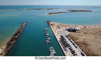 Aerial. View from sky, beach and Ria Formosa in Fuseta. -...