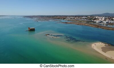 Aerial. Flight over the beaches and Ria Formosa in Fuseta....