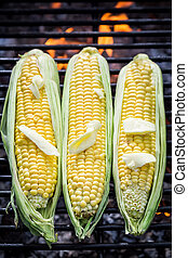 Sweet corncob on grill with butter and salt