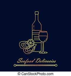 Oysters with lemon and wine. Vector illustration. Seafood...