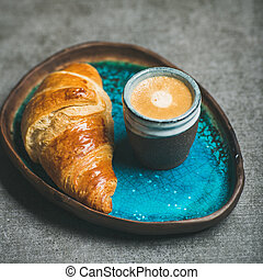 Cup of espresso coffee and croissant, square crop - Cup of...