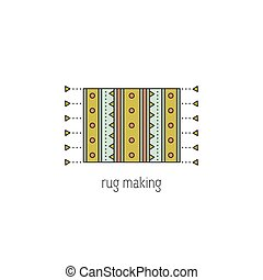 Rug making line icon - Rug making vector thin line icon....