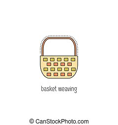 Basket weaving line icon