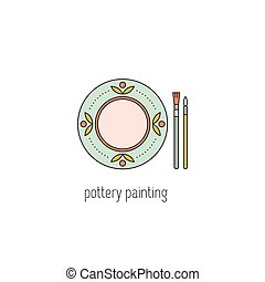 Pottery painting line icon - Pottery painting vector thin...