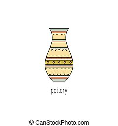 Pottery line icon - Pottery vector thin line icon. Handmade...