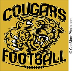 cougars football - stylized cougars football team design...