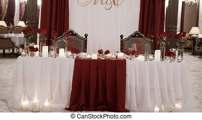 Restaurant interior decoration with white and red colors