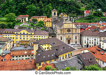 Old town of Bellinzona, canton Ticino, Switzerland -...