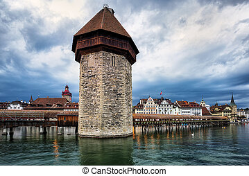 Water Tower in the old town of Lucerne, Switzerland