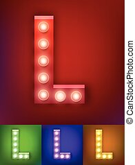 Vector illustration of realistic old lamp alphabet for light board. Vintage vegas show typography. Letter L