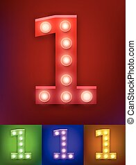 Vector illustration of realistic old lamp alphabet for light board. Vintage vegas show typography. Number 1