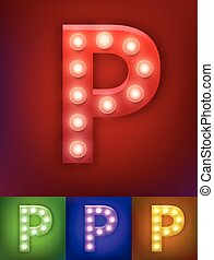 Vector illustration of realistic old lamp alphabet for light board. Vintage vegas show typography. Letter P