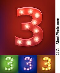 Vector illustration of realistic old lamp alphabet for light board. Vintage vegas show typography. Number 3